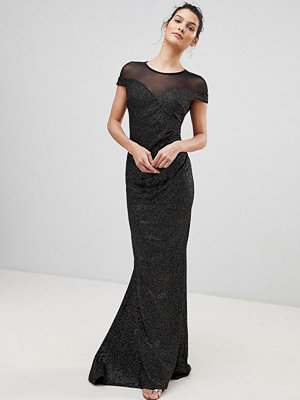 City Goddess Pleated Glitter Maxi Dress With Mesh Detail