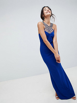 City Goddess Criss Cross Embellished Neckline Maxi Dress - Cobalt