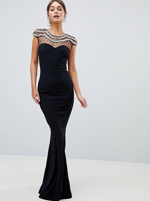 City Goddess Embellished Fishtail Maxi Dress