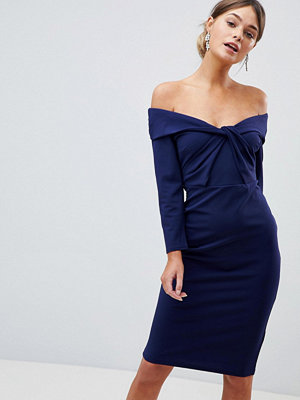 City Goddess Long Sleeved Midi Dress With Twisted Neckline
