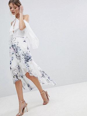 Coast Amber Blommig kjol med asymmetrisk fåll Vitt blommönster