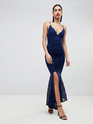 ASOS DESIGN deep plunge lace bodycon maxi dress with fishtail - Navy
