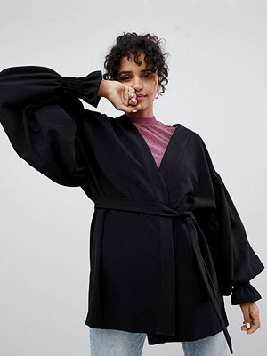 Monki Balloon Sleeve Kimono Jacket - Black