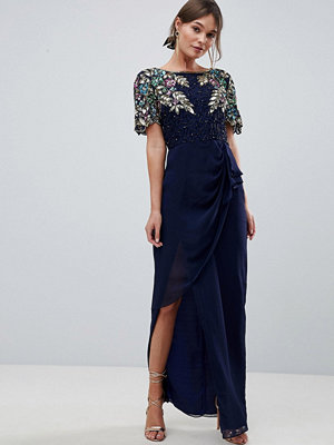 Virgos Lounge Ariann Embellished Maxi Dress With Frill Wrap Skirt