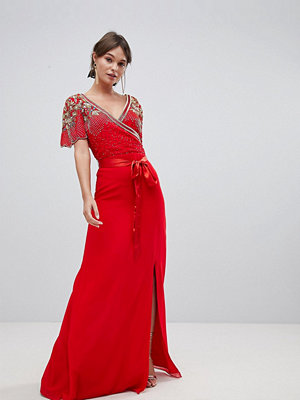 Virgos Lounge Julisa Wrap Maxi Dress With Embellishment