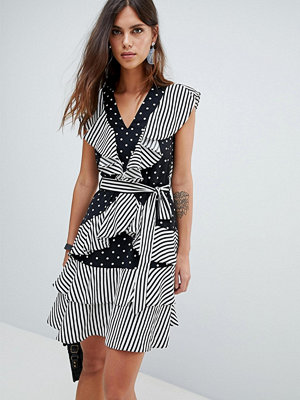 Y.a.s Dot And Stripe Ruffle Dress