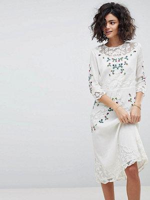 Intropia Hand Embroidered Lace Midi Dress - Off white