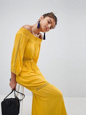 Boohoo Lace Insert Bardot Maxi Dress