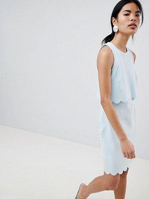 New Look Scallop Edge Shift Dress - Light blue