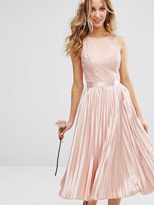 Chi Chi London Lace Bodice Midi Dress With Pleated Satin Skirt - Dusky rose