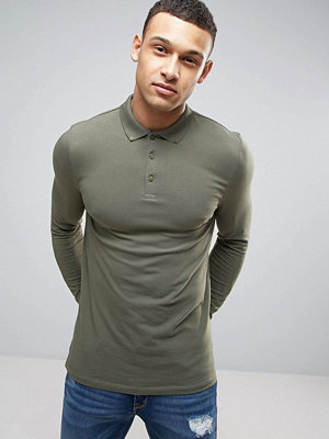 ASOS Long Sleeve Muscle Polo In Jersey With Button Down Collar In Green - Toad