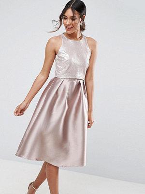Little Mistress Sequin Top Midi Dress - Mink