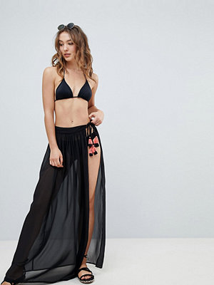 New Look Sheer TASSEL Maxi Wrap Skirt
