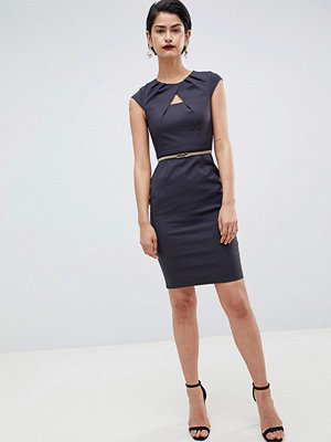 Paper Dolls Charcoal Keyhole Pleat Dress - Charcoal