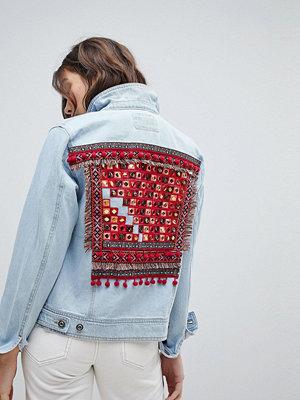 Only Embroidered Back Denim Jacket - Light blue denim