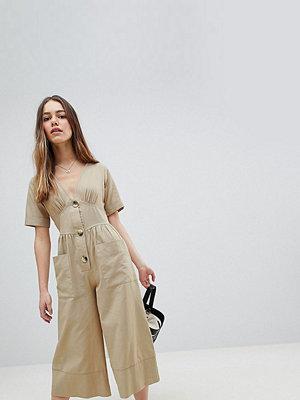 ASOS Petite Tea-jumpsuit i bomull med knappar i horn