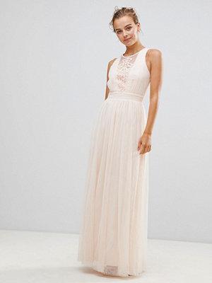Little Mistress Chiffon Maxi Dress With Lace Insert - Light pink