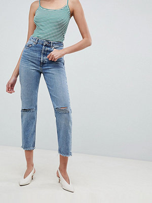 ASOS DESIGN Recycled Florence Authentic Straight Leg Jeans In Spring Light Stone Wash With Rips - Light s