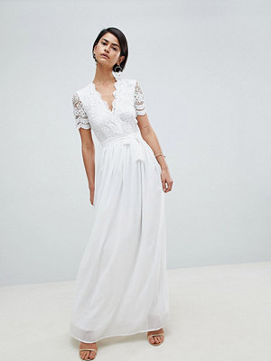 Club L Short Sleeve Crochet Lace Maxi Dress With V Neck