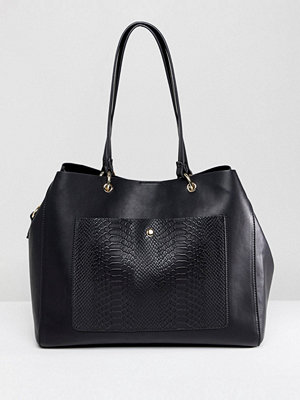 ASOS DESIGN Snake Pocket Shopper With Metal Rings