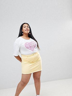 Urban Bliss Plus Distressed Denim Skirt - Pastel lemon