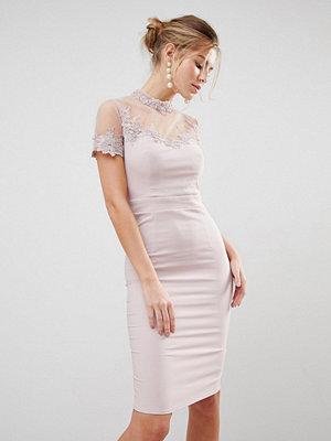 Little Mistress High Neck Bodycon Dress - Mink