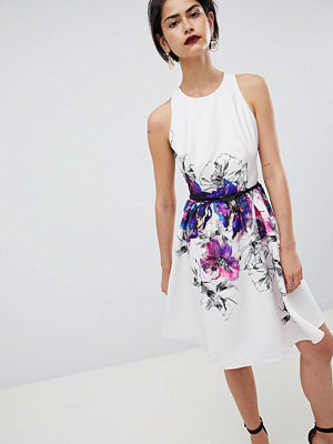 Little Mistress Floral Placement Print Prom Dress - Print
