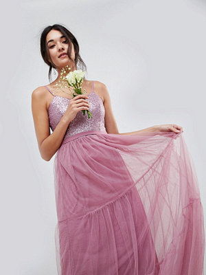 Little Mistress Bridesmaid Sequin Upper Maxi Dress With Tulle Tiered Skirt - Rose