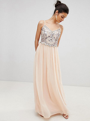 City Goddess Embellished Chiffon Maxi Dress - Pale pink