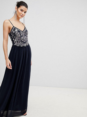 City Goddess Embellished Chiffon Maxi Dress - Navy