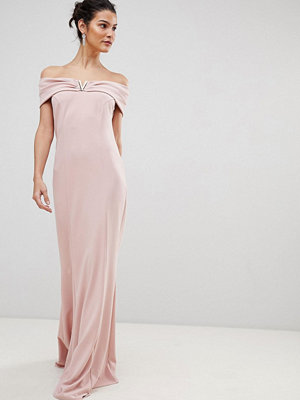 City Goddess Bardot Maxi Dress With Metal Detail - Pale pink