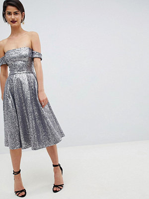 City Goddess Sequin Bardot Midi Dress