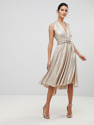 City Goddess Multi Tie Metallic Skater Dress