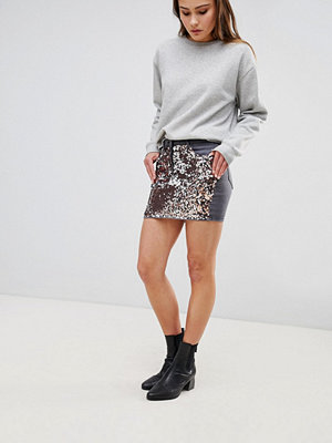 Parisian Festival Denim Mini Skirt with Sequin Front - Silver