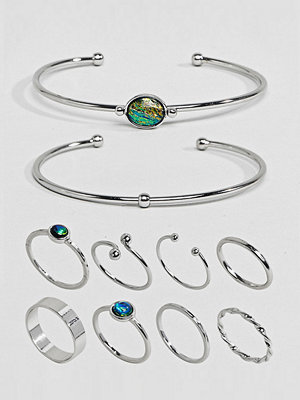 ASOS Curve ASOS DESIGN Curve Exclusive Pack Of 10 Stone Cuff Bracelets And Rings - Rhodium