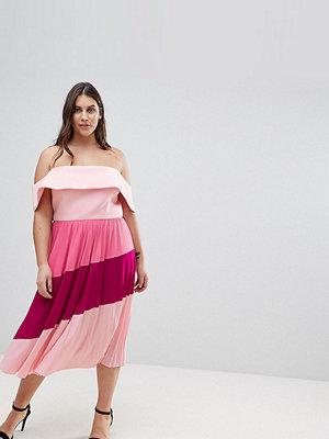 ASOS Curve Scuba Bardot Colourblock Pleated Midi Dress