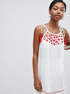 Boohoo Tassel Cami Strap Embroidered Beach Dress