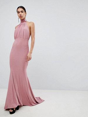 Club L Bridesmaid Halterneck High Neck Fishtail Maxi Dress - Blush