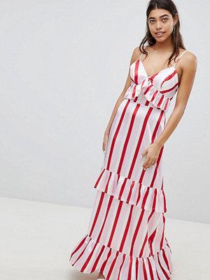 Boohoo Satin Ruffle Striped Maxi Dress - Multi