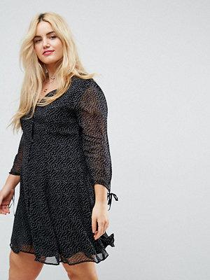 ASOS Curve Spot Print Button Down Tea Dress With Tie Sleeve