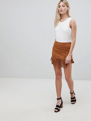 Brave Soul Suedette Fringed Hem Festival Skirt - Tan