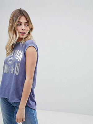 Brave Soul Sunset T-shirt för stranden med foliemönster Jeansblå