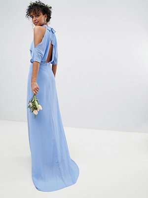 TFNC High Neck Maxi Bridesmaid Dress With Fishtail - Bluebell