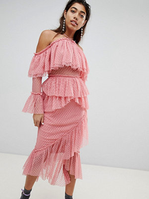 ASOS DESIGN Dobby Mesh Midi Dress With Asymmetric Ruffles