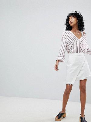 One Teaspoon Denim Mini Skirt with Raw Hem