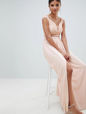 Girl In Mind Off Shoulder Lace Maxi Dress - Light pink