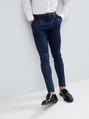 ASOS Super Skinny Smart Trousers In Navy Cotton Sateen
