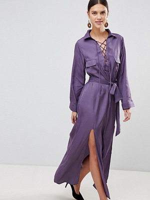 None the Richer Stevie 2 Way Neck Choker Belt Silk Blend Dress - Purple haze