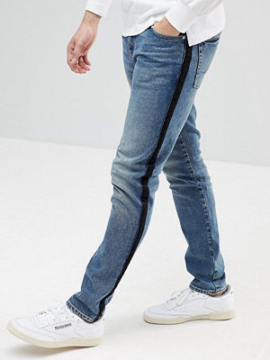 ASOS Skinny Jeans In Dark Wash Blue With Side Stripe - Dark wash blue