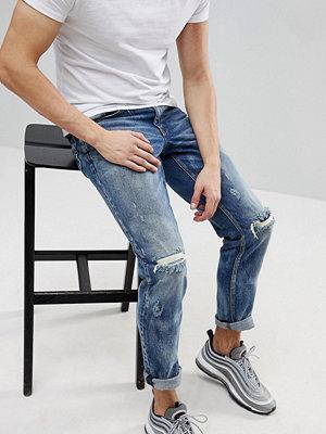 ASOS Stretch Slim Jeans In Dark Wsh With Random Bleach and Rips - Dark wash blue